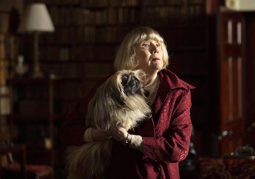 eiderly lady holding dog