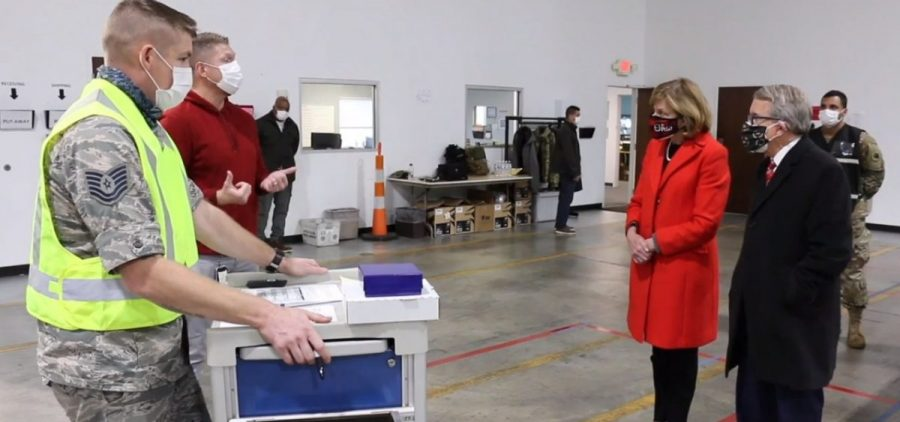Mike and Fran DeWine tour the ODH Receipt, Store, and Stage warehouse on Tuesday.