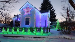 Ken Cash House with Holiday lights