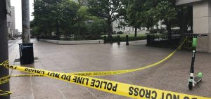 Police tape marks a corner of the Ohio Statehouse in Columbus last May after protests over the death of George Floyd. Columbus police are investigating the shooting death of a Black man last week by a Franklin County sheriff's deputy.