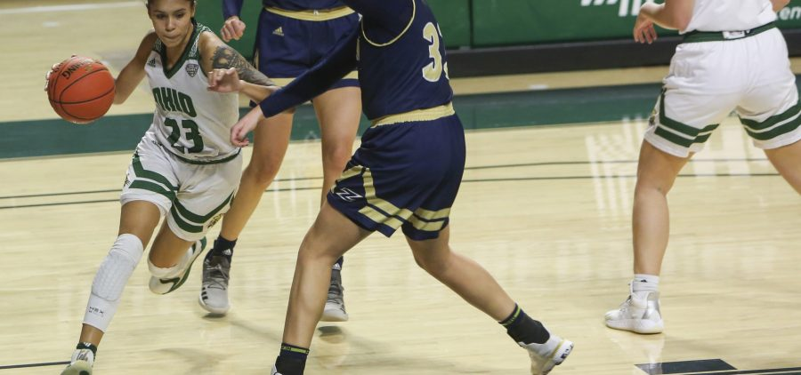 Ohio University's women's basketball team plays against Akron in the Convocation Center on Saturday, Jan. 30, 2021, in Athens, OH. Ohio University defeated Akron 85-55. (Chris J. Day/WOUB)