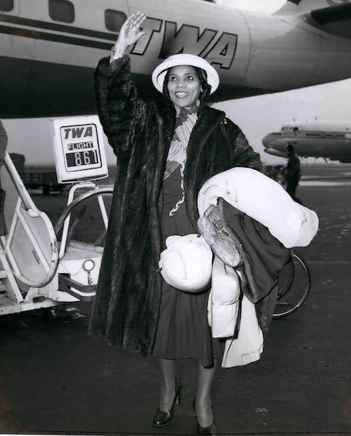 Marian Anderson arriving at New York's Idlewild Airport from London