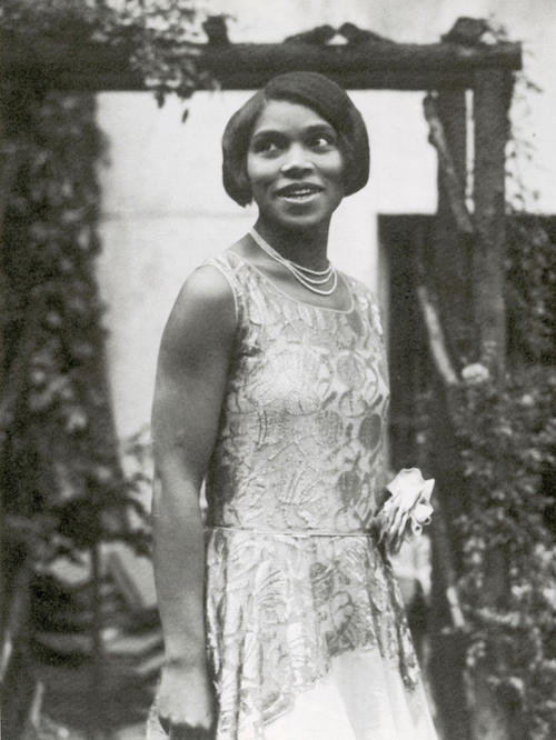 A portrait of the young American contralto Marian Anderson.