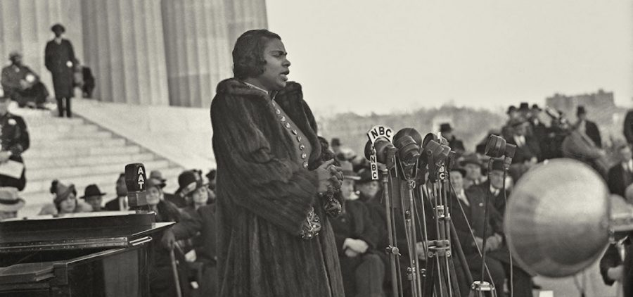 Marian Anderson singing at the Lincoln Memorial in Washington, D.C. on Easter Sunday, 1939.