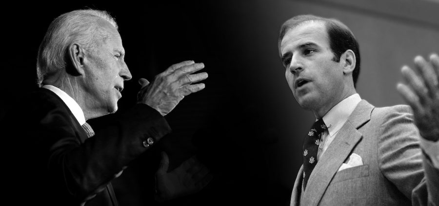 young and older Joe Biden facing each other