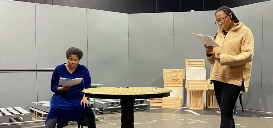 "Kyra Higgins (left) rehearses ""Blackademics"" with co-star Savanah Jackson (right)."