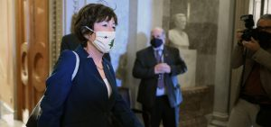 Sen. Susan Collins, R-Maine, seen here at the U.S. Capitol on Thursday, is leading a group of Republican senators who have written to President Biden with a request to detail a COVID-19 rescue counterproposal.