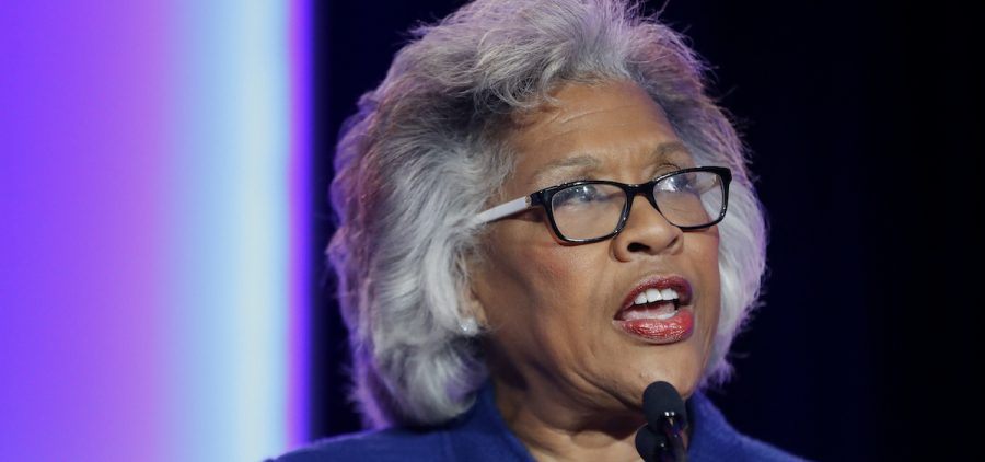 In this Nov. 6, 2018, file photo, Rep. Joyce Beatty, D-Ohio, speaks to the audience during the Ohio Democratic Party election night watch party in Columbus, Ohio