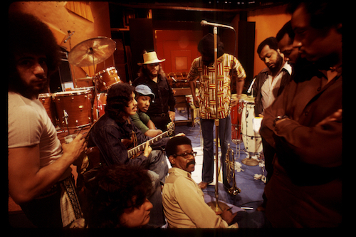 Ellis Haizlip on the set of SOUL! with the band Mandrill.