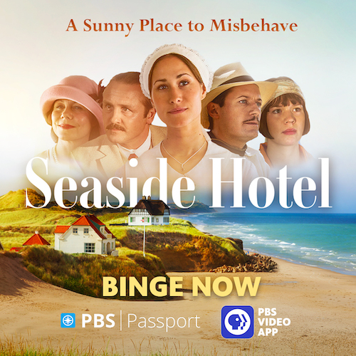 stars of the program Seaside Hotel on beach image showing the series is available for bingeing