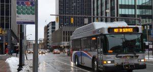 COTA bus driving through downtown Columbus