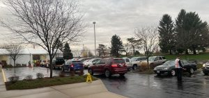 A line outside the Mid-Ohio Food Bank in Grove City near Columbus in November.