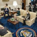 President Biden and Vice President Harris meet Monday evening in the Oval Office with 10 Republican senators, including Mitt Romney of Utah, Susan Collins of Maine and Lisa Murkowski of Alaska, to discuss COVID-19 relief proposals.