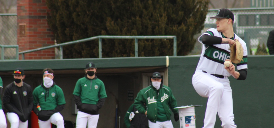 Ohio Baseball's Joe Rock threw a no-hitter on Friday, Feb. 26, 2021 against Morehead State. Ohio split the two games with the Eagles (Photo: Nick Viland/WOUB)