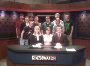 Katie Meyers on Newswatch set as a student