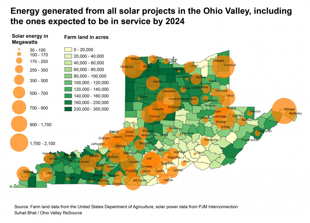 A map shows solar energy generated by all solar projects in the Ohio Valley