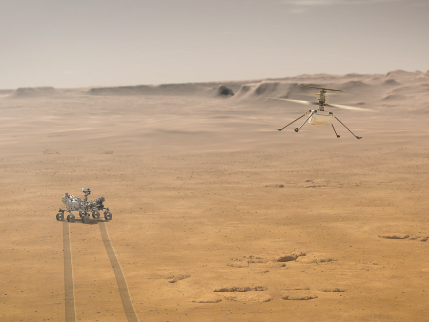NASA's Perseverance rover shown with its experimental aerial drone, the Ingenuity Mars Helicopter, in an artist's concept.