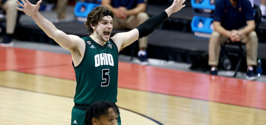 BLOOMINGTON, IN - MARCH 20: Ben Vander Plas #5 of the Ohio Bobcats celebrates during the closing seconds of their 62-58 win over the Virginia Cavaliers in the first round of the 2021 NCAA Division I MenÕs Basketball Tournament held at at Simon Skjodt Assembly Hall on March 20, 2021 in Bloomington, Indiana. (Photo by Grant Halverson/NCAA Photos via Getty Images)