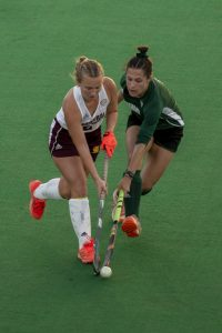 Claire Buckey (4) tries to steer the ball away from Bobbimarie Parker (2). (Evann Figueroa/WOUB)