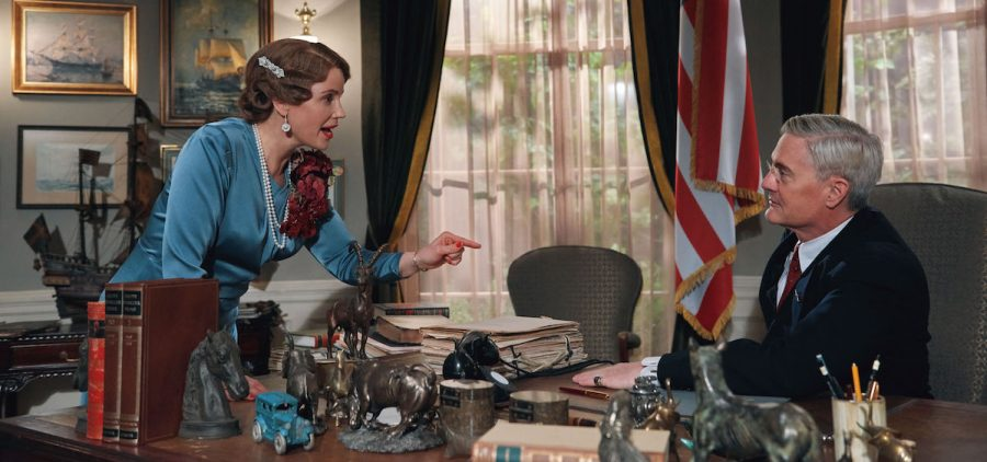 Shown from left to right: Sofia Helin as Crown Princess Martha and Kyle MacLachlan as President Franklin D. Roosevelt