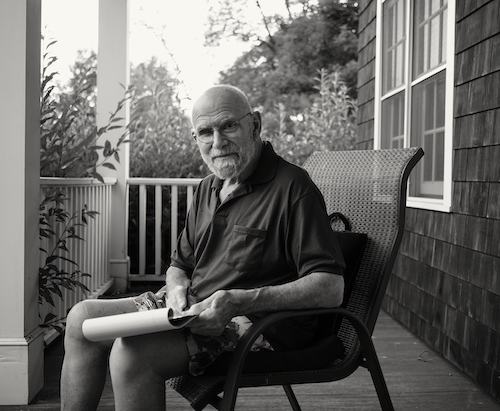 Oliver sacks writing on porch, 2015