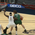 Ohio's Ben Vander Plas works against MAC Player of the Year Marreon Jackson in the Bobcats' game against Toledo on Friday, March 12, 2021.