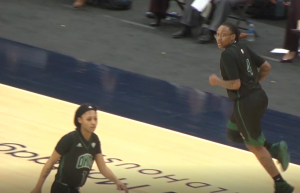 Ohio's Erica Johnson (4) looks at the Bobcats' bench after hitting a three-pointer in the Bobcats' MAC semifinal game against Central Michigan on March 12, 2021. (Photo: Bryan Kurp/WOUB)