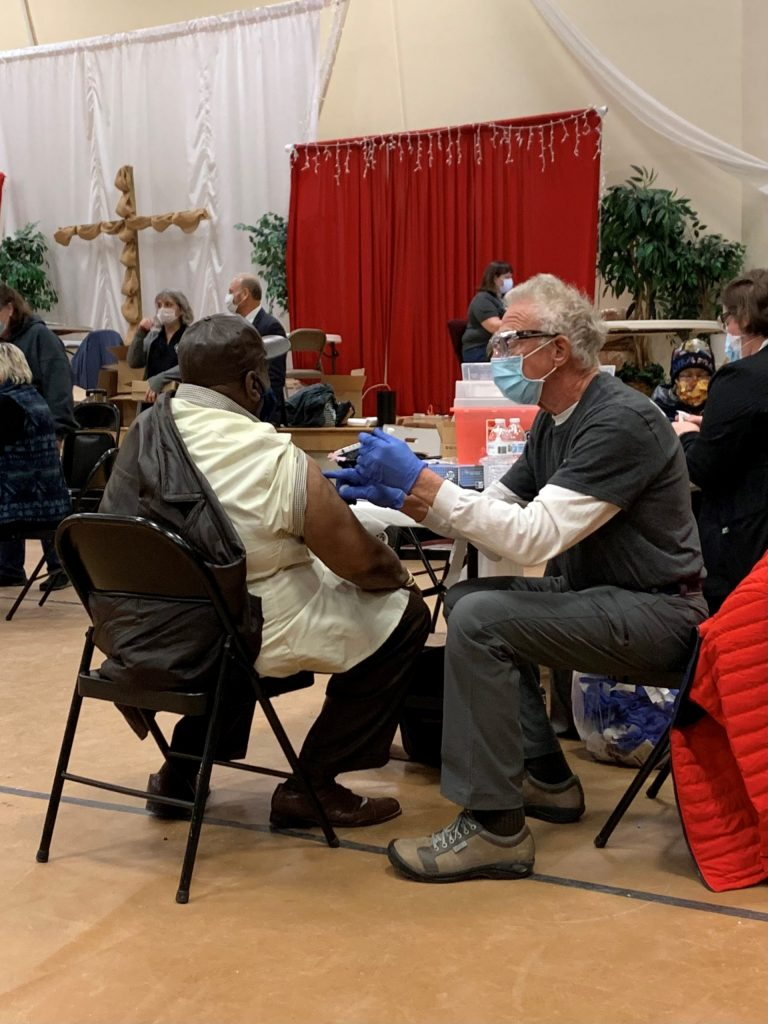 Vaccination clinic at Consolidated Baptist Church in Lexington.