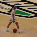 Ohio's Cece Hooks dribbles the ball across midcourt in the Bobcats' game against Ball State in the MAC Quarterfinals on March 10, 2021. (Photo: Joe Collins/WOUB)