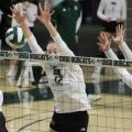 Caitlin O'Farrell attempts a block vs Ball State