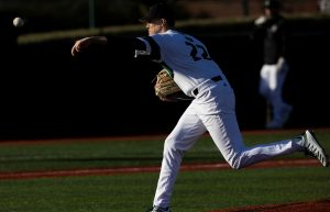 Ohio Baseball's Joe Rock delivers a pitch in the Bobcats' game against Milwaukee on Friday, March 5, 2021. (Photo: Chris J. Day/WOUB)