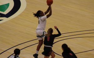 Ohio's Erica Johnson pulls up for a shot in the Bobcats' game against Ball State in the MAC Tournament on March 10, 2021. (Photo: Joe Collins/WOUB).