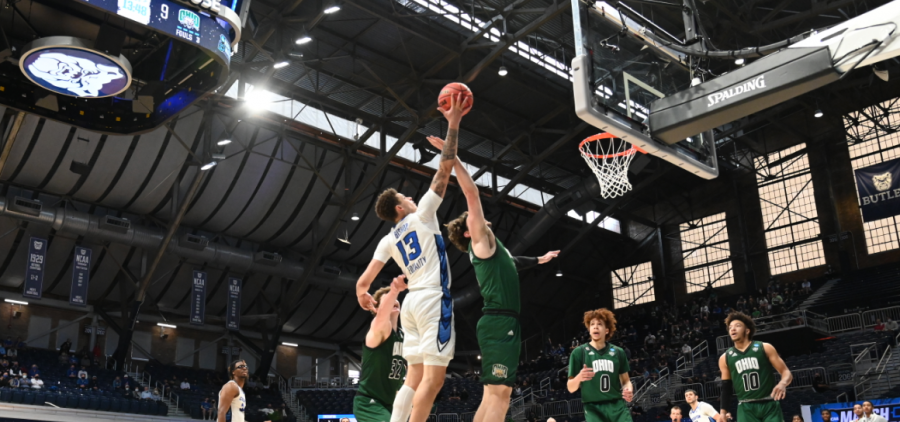 The Creighton Blue Jays take on the Ohio Bobcats in the second round of the 2021 NCAA Division I Men's Basketball Tournament held at Hinkle Fieldhouse on March 22, 2021 in Indianapolis, Indiana. (Photo by Brett Wilhelm/NCAA) Photos via Getty Images)