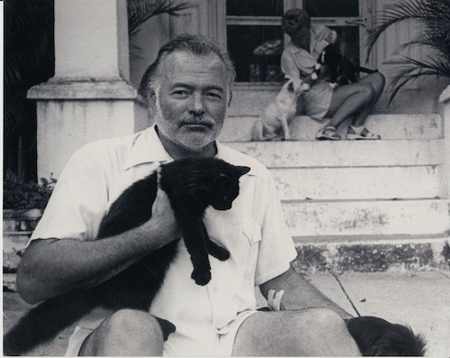 Ernest Hemingway and Mary on steps