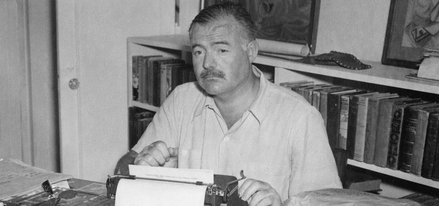 Ernest Hemingway at his home Cuba, late 1940s.
