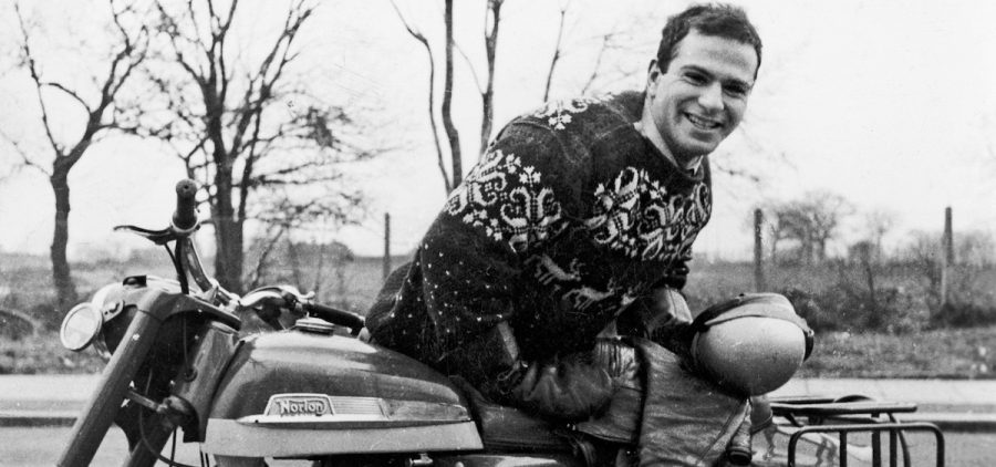 Oliver Sacks with his 250cc Norton motorcycle in 1956.