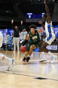 The Creighton Bluejays take on the Ohio Bobcats in the second round of the 2021 NCAA Division I Men's Basketball Tournament held at Hinkle Fieldhouse on March 22, 2021 in Indianapolis, Indiana. (Photo by Brett Wilhelm/NCAA Photos via Getty Images)