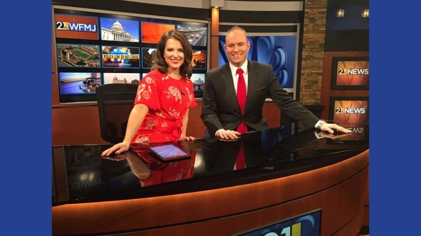 Steve Vesey and Christa Lamendola on anchor desk