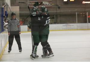 Ohio Hockey celebrates a goal against Lindenwood