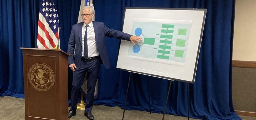 Former U.S. Attorney for the Southern District of Ohio David DeVillers points at a chart at the press conference announcing the arrest of then-Speaker Larry Householder (R-Glenford) and others in a $60 million bribery case.