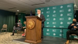 At a press conference at Cleveland State's Wolstein Center March 16, Gov. Mike DeWine announced Ohio will expand COVID vaccine eligibility requirements later this week. By the end of the month, all Ohioans regardless of age will qualify, he said.