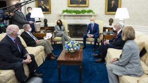 President Biden and Vice President Harris meet with a bipartisan group of senators to discuss infrastructure on Feb. 11
