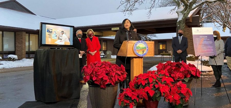 Ohio Department of Aging Director Ursel McElroy joined Gov. Mike and Fran DeWine for the first COVID vaccine among Ohio nursing home residents, at the Crown Point Care Center in Columbus in December.