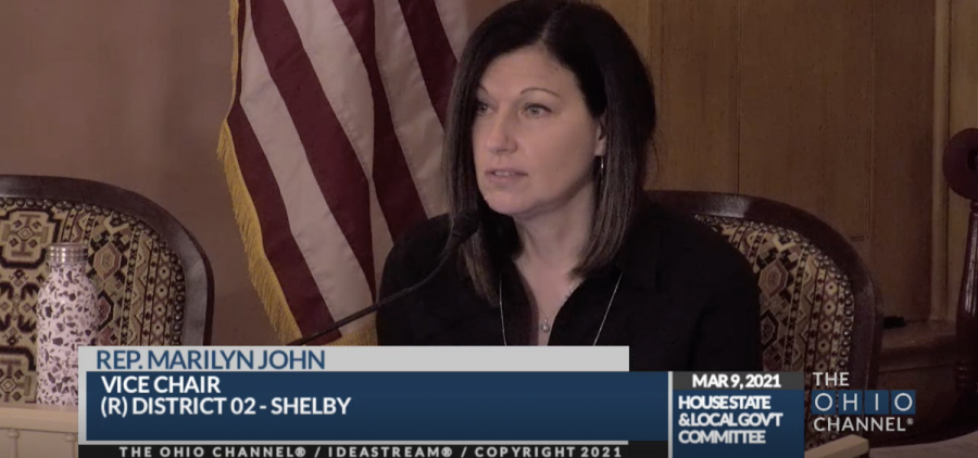 Rep. Marilyn John (R-Shelby) at the House State and Local Government Committee.