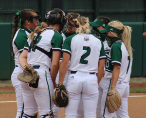 Ohio Softball's infielders huddle during Ohio's doubleheader against Western Michigan on Friday, March 26, 2021. (Photo: Nick Viland/WOUB)