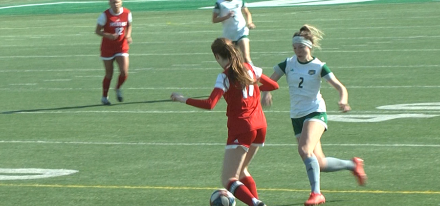 Ohio's Paige Knorr (2) goes for the ball in the Bobcats' match against Miami (OH) on March 4, 2021 at Peden Stadium.