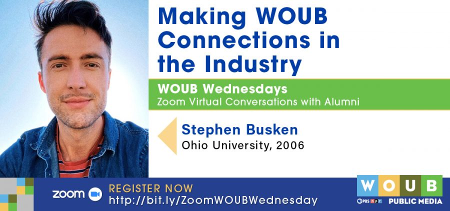 Headshot of Busken with information about WOUB WEDNESDAY event