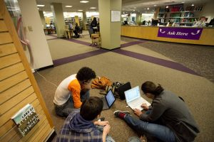 Students studying in Alden Library