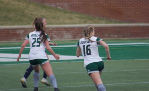 Ohio soccer's Abby Townsend (16) and Izzi Boyd (25) play defense against Akron on Sunday, March 14, 2021, at Peden Stadium (Photo: Jensen Knecht/WOUB)