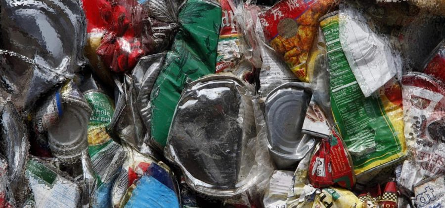 Crushed cans to be recycled